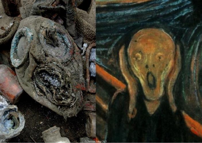 """Od lewej: """"Krzyk z dworca Brama Nizinna """" C.Samp 2015. Od prawej """"Krzyk"""" E.Munch 1893"""