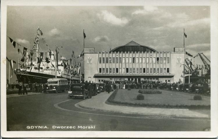 Dworzec Morski, 1938 r. lub wcześniej, wydawca Morska Agencja Fotograficzna Gdynia