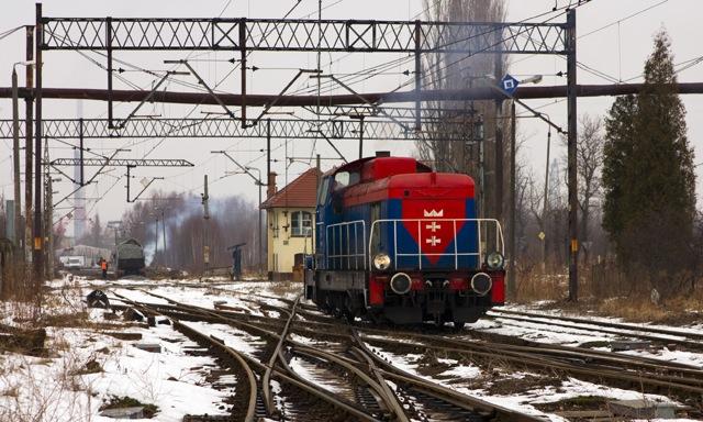 Widok w stronę Kanału Kaszubskiego, za lokomotywa nastawnia GKK