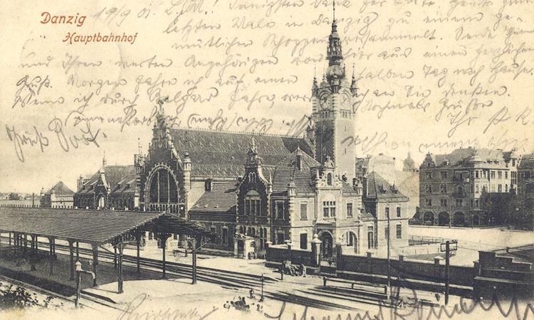Gdańsk Główny na pocztówce wysłanej w 1901 r. Repr. ze zbiorów autora