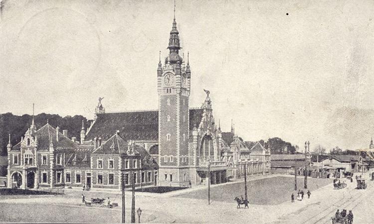 Gdańsk Główny na pocztówce wysłanej w 1902 r. Repr. ze zbiorów autora