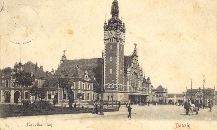 Gdańsk Główny na pocztówce wysłanej w 1904 r. Repr. ze zbiorów autora