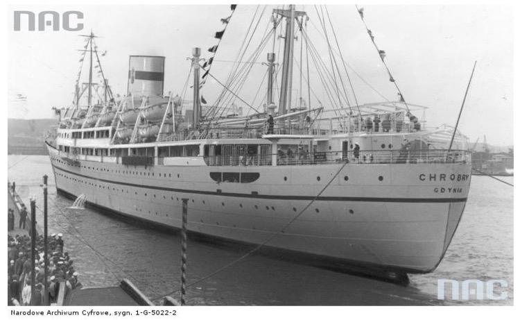Statek pasażerski MS Chrobry Źródło - Narodowe Archiwum Cyfrowe
