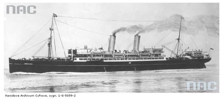 Statek pasażerski SS Kościuszko. Źródło - Narodowe Archiwum Cyfrowe