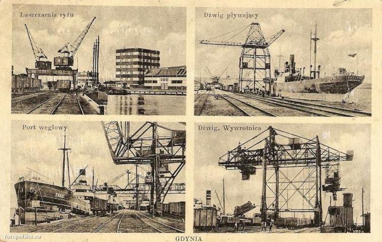 Port w Gdyni w kilku ujęciach, lata 1930-1940 r.