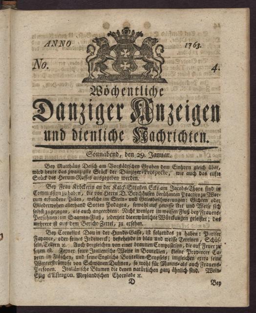 """Pierwsza strona gdańskiego czasopisma ogłoszeniowego """"Danziger Erfahrungen"""" sprzed 250 lat (data wydania: 29 stycznia 1763 roku). Ze zbiorów Polskiej Akademii Nauk Biblioteki Gdańskiej."""