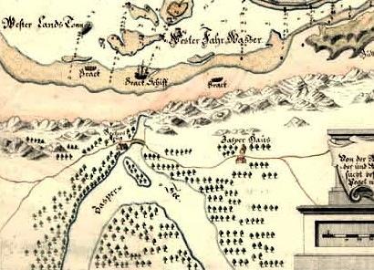 Fragment mapy z 1870 roku z widoczną drogą i mostkiem nad ślepą odnogą Jeziora Zaspa