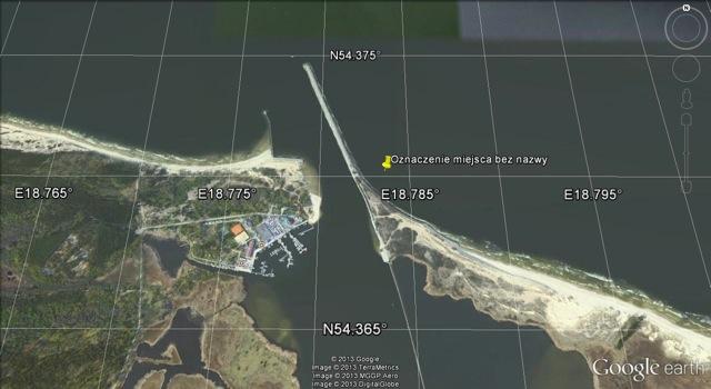 Miejsce ewentualnego cmentarza na współczesnej mapie Google Earth