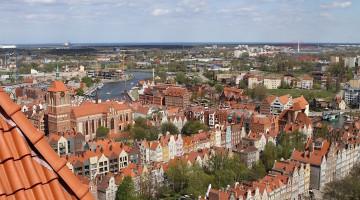 Panorama Gdańska z wieży Bazyliki Mariackiej w Gdańsku