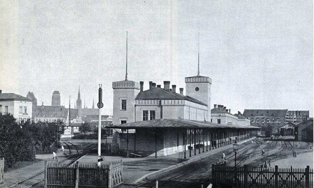 """Dworzec Gdańsk Brama Nizinna ok. 1880 r. Repr. z """"Danziger Hauskalender""""."""
