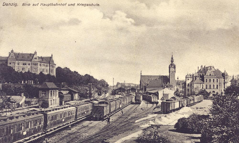 Gdańsk Główny na pocztówce wysłanej w 1913 r. Repr. ze zbiorów autora