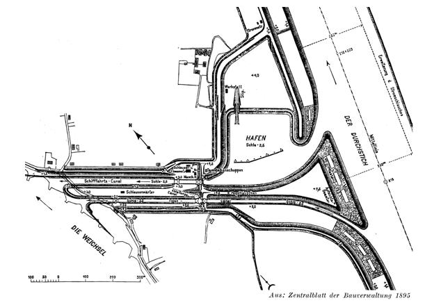 Plan śluz w Einlage (Przegalinie) – 1895 r.