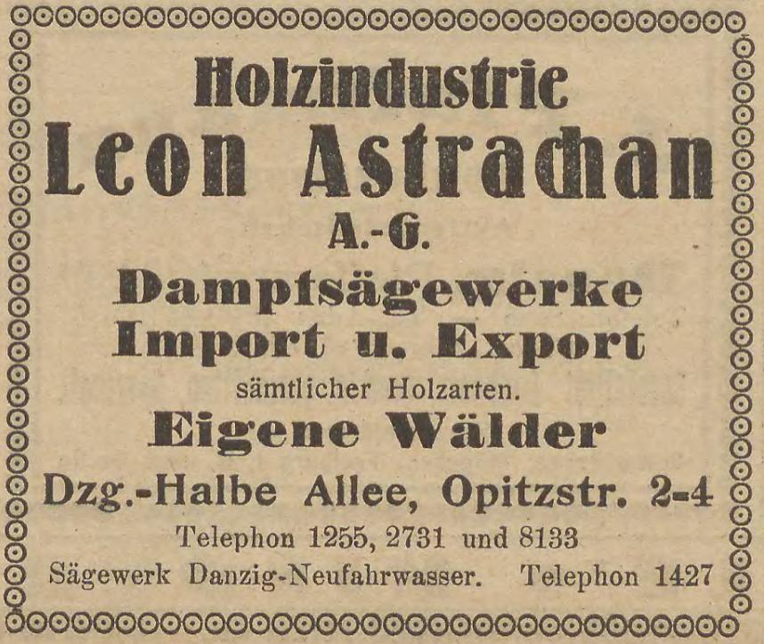 Reklama firmy Leona Astrachana z 1924 r.
