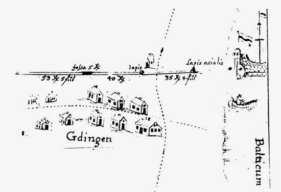 Najstarsza mapa wsi Gdynia z 1731 r., która została sporządzona przez przeora klasztoru kartuzów