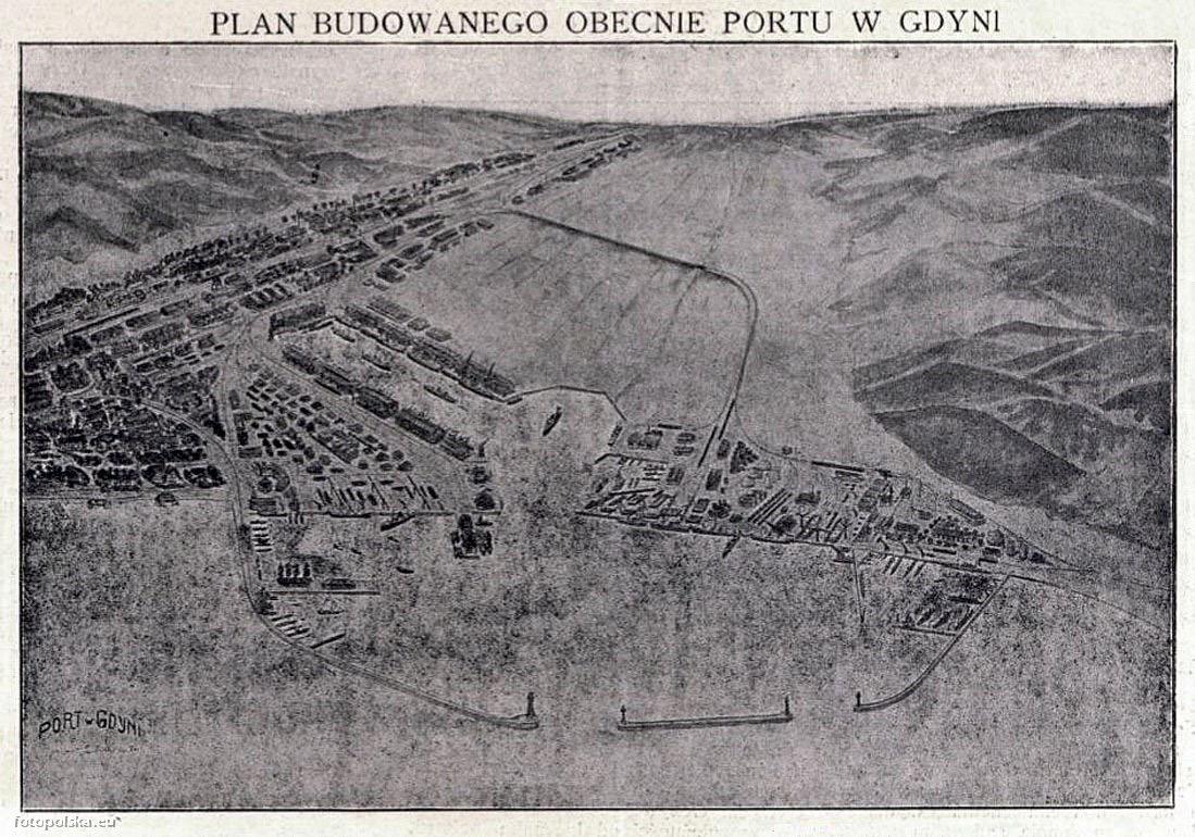 Plan budowy portu w Gdyni, 1924.